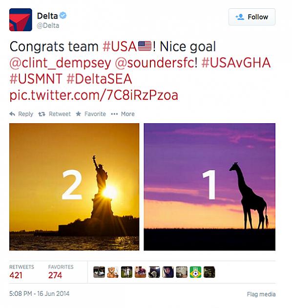 Delta Airlines Giraffe Tweet